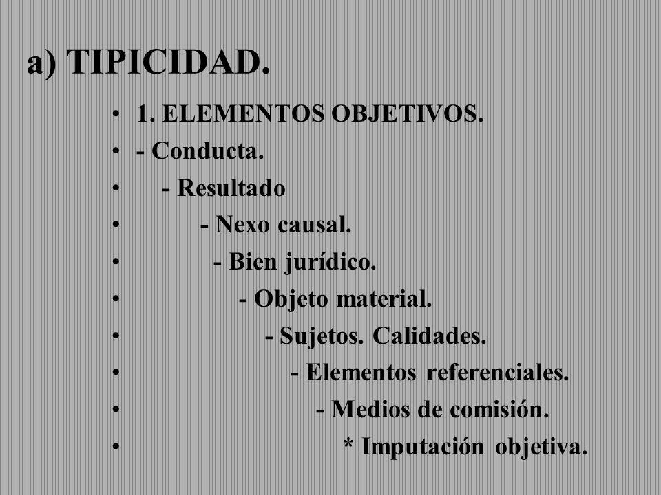 a) TIPICIDAD. 1. ELEMENTOS OBJETIVOS. - Conducta. - Resultado