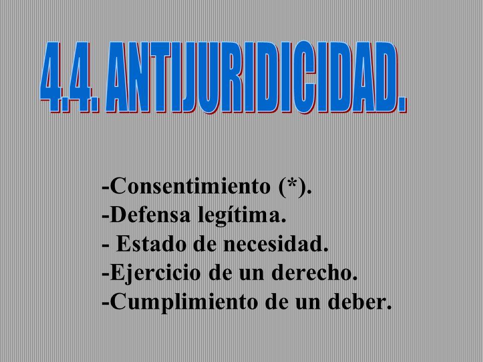 4.4. ANTIJURIDICIDAD. -Consentimiento (*). -Defensa legítima.