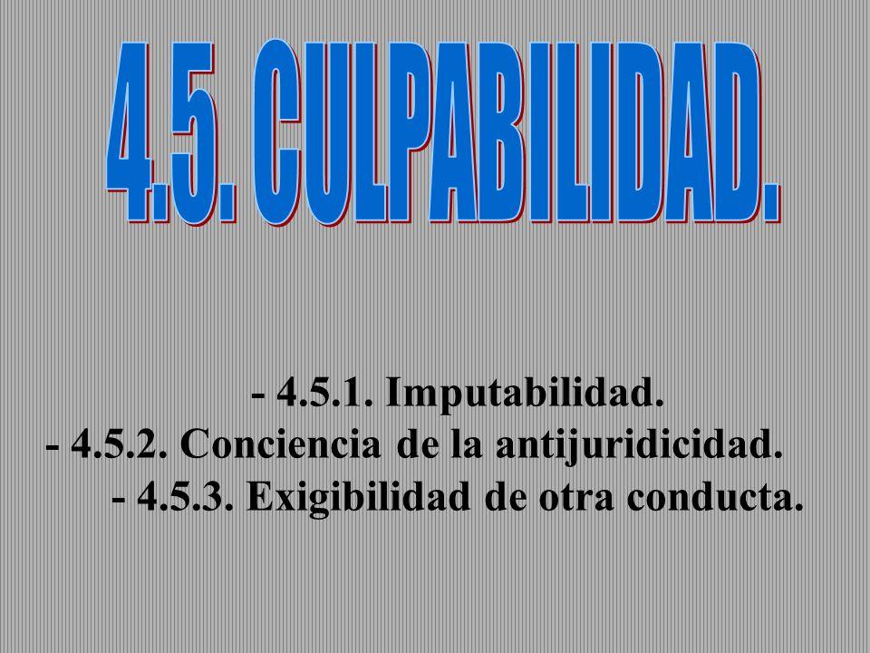 4.5. CULPABILIDAD. - 4.5.1. Imputabilidad. - 4.5.2.