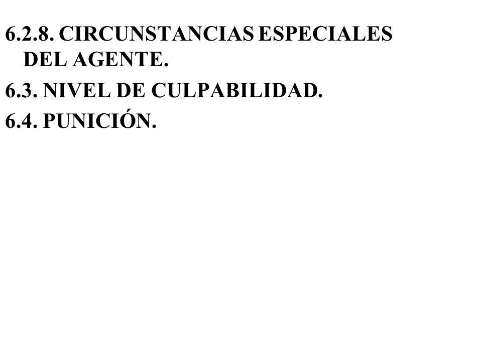 6.2.8. CIRCUNSTANCIAS ESPECIALES DEL AGENTE.