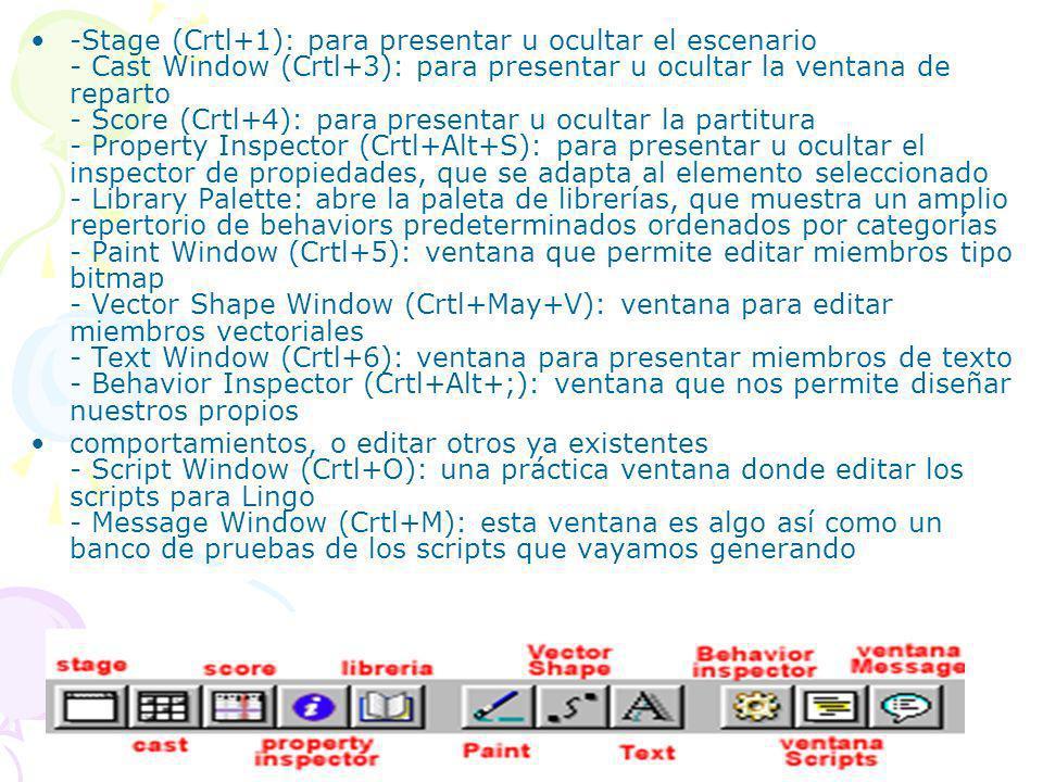-Stage (Crtl+1): para presentar u ocultar el escenario - Cast Window (Crtl+3): para presentar u ocultar la ventana de reparto - Score (Crtl+4): para presentar u ocultar la partitura - Property Inspector (Crtl+Alt+S): para presentar u ocultar el inspector de propiedades, que se adapta al elemento seleccionado - Library Palette: abre la paleta de librerías, que muestra un amplio repertorio de behaviors predeterminados ordenados por categorías - Paint Window (Crtl+5): ventana que permite editar miembros tipo bitmap - Vector Shape Window (Crtl+May+V): ventana para editar miembros vectoriales - Text Window (Crtl+6): ventana para presentar miembros de texto - Behavior Inspector (Crtl+Alt+;): ventana que nos permite diseñar nuestros propios