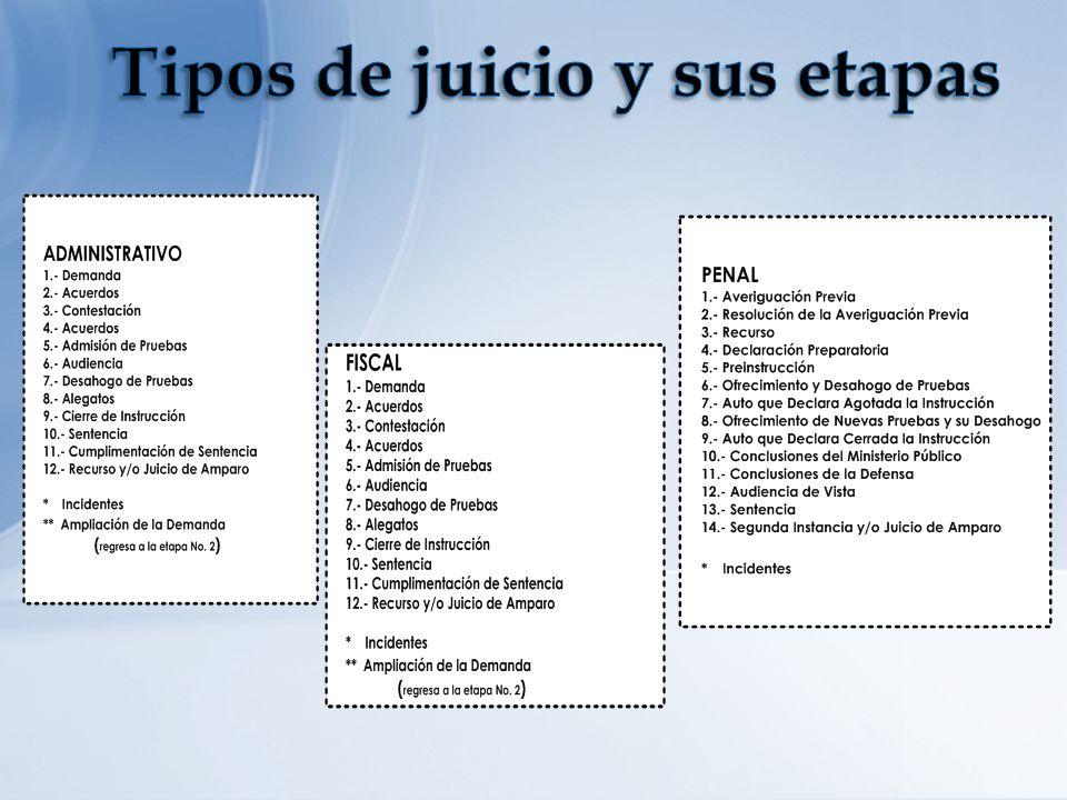 Tipos de juicio y sus etapas