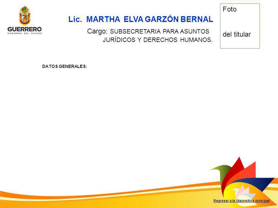Lic. MARTHA ELVA GARZÓN BERNAL