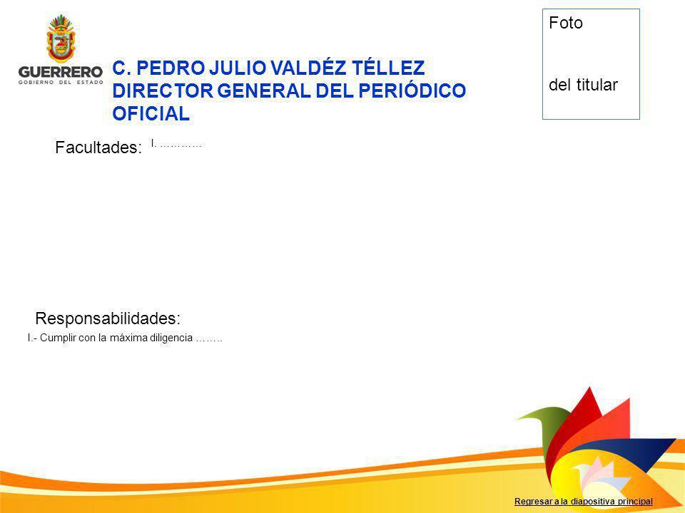 C. PEDRO JULIO VALDÉZ TÉLLEZ DIRECTOR GENERAL DEL PERIÓDICO OFICIAL
