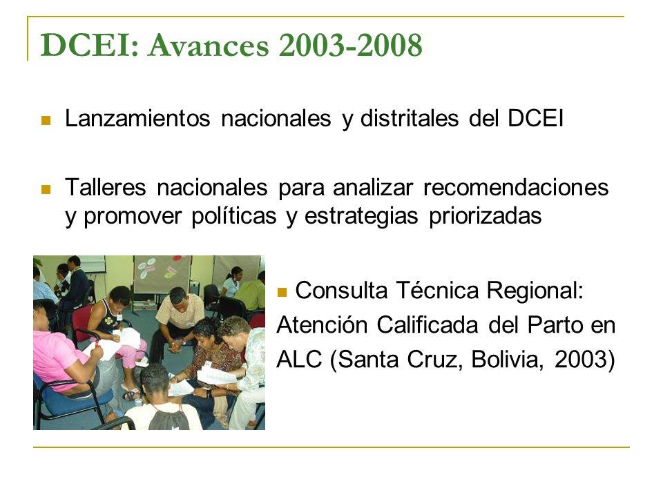 DCEI: Avances 2003-2008 Lanzamientos nacionales y distritales del DCEI