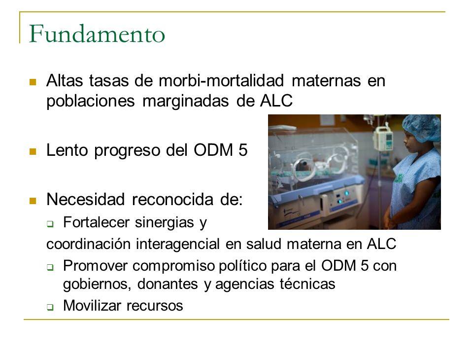 Fundamento Altas tasas de morbi-mortalidad maternas en poblaciones marginadas de ALC. Lento progreso del ODM 5.