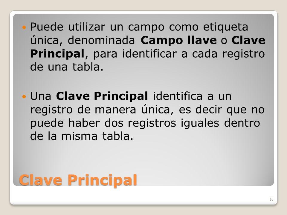 Puede utilizar un campo como etiqueta única, denominada Campo llave o Clave Principal, para identificar a cada registro de una tabla.