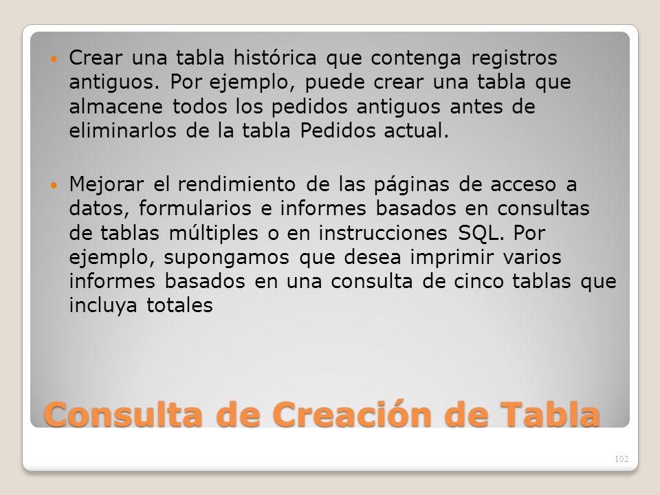 Consulta de Creación de Tabla