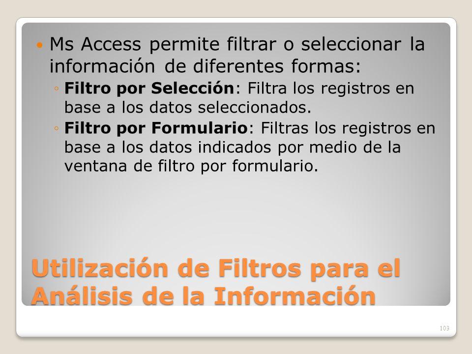 Utilización de Filtros para el Análisis de la Información