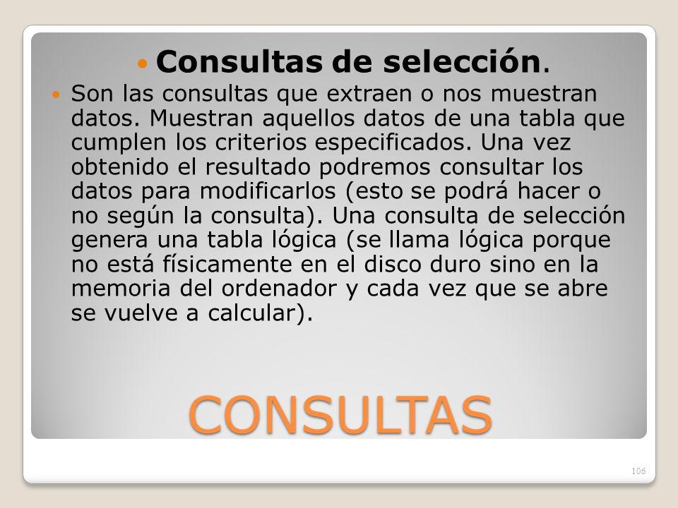 Consultas de selección.