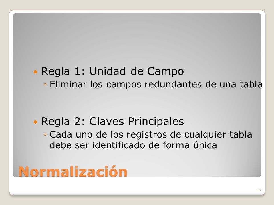 Normalización Regla 1: Unidad de Campo Regla 2: Claves Principales