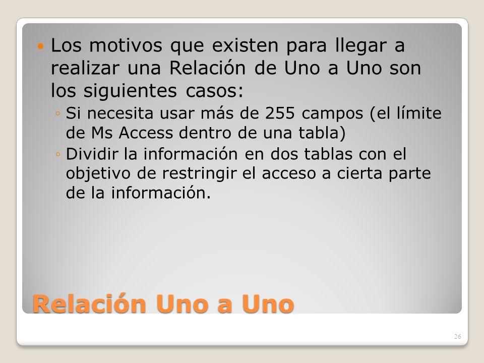 Los motivos que existen para llegar a realizar una Relación de Uno a Uno son los siguientes casos: