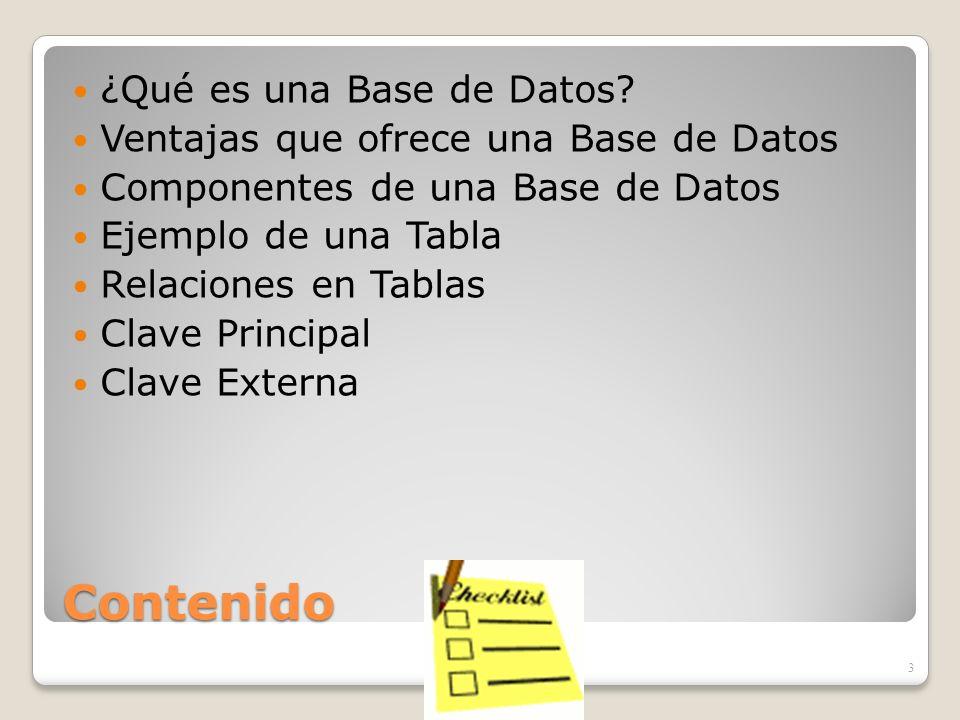 Contenido ¿Qué es una Base de Datos
