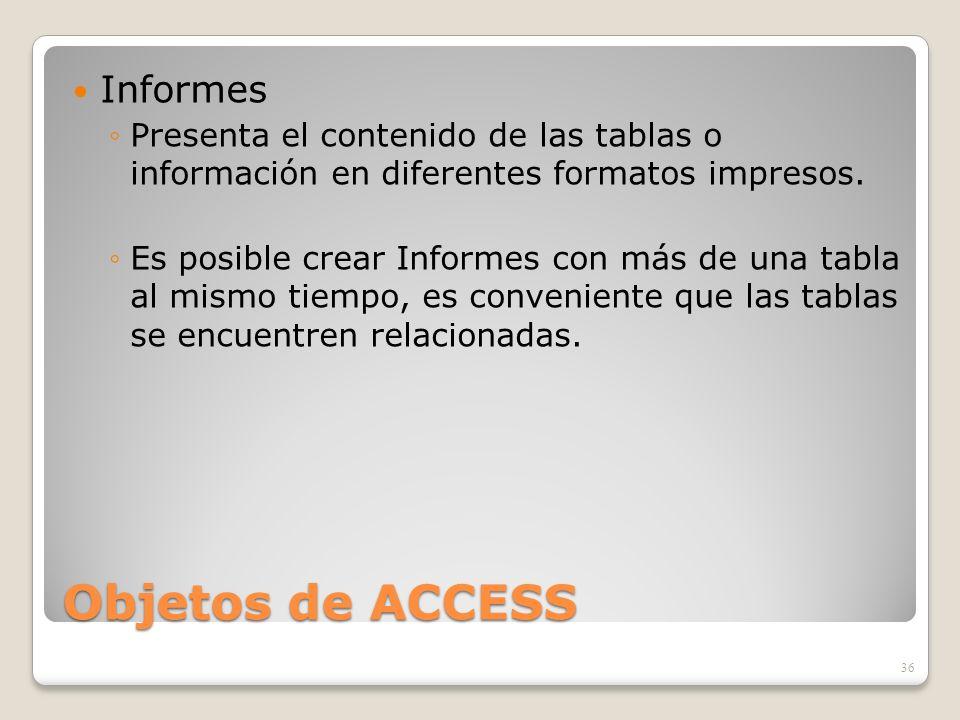 Objetos de ACCESS Informes