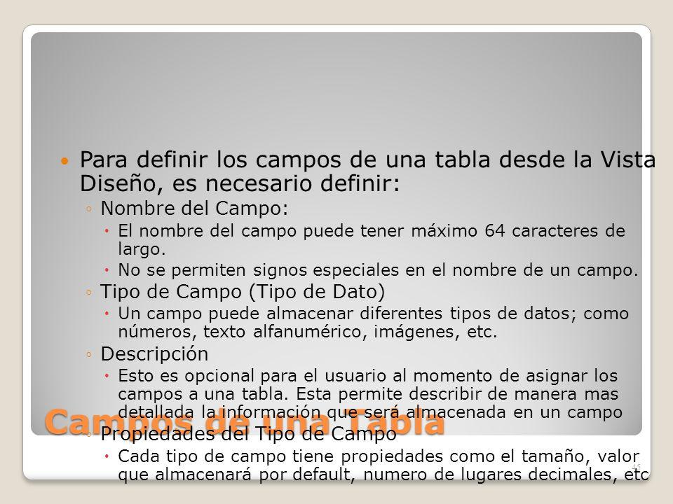 Para definir los campos de una tabla desde la Vista Diseño, es necesario definir: