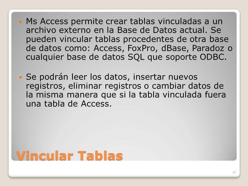 Ms Access permite crear tablas vinculadas a un archivo externo en la Base de Datos actual. Se pueden vincular tablas procedentes de otra base de datos como: Access, FoxPro, dBase, Paradoz o cualquier base de datos SQL que soporte ODBC.