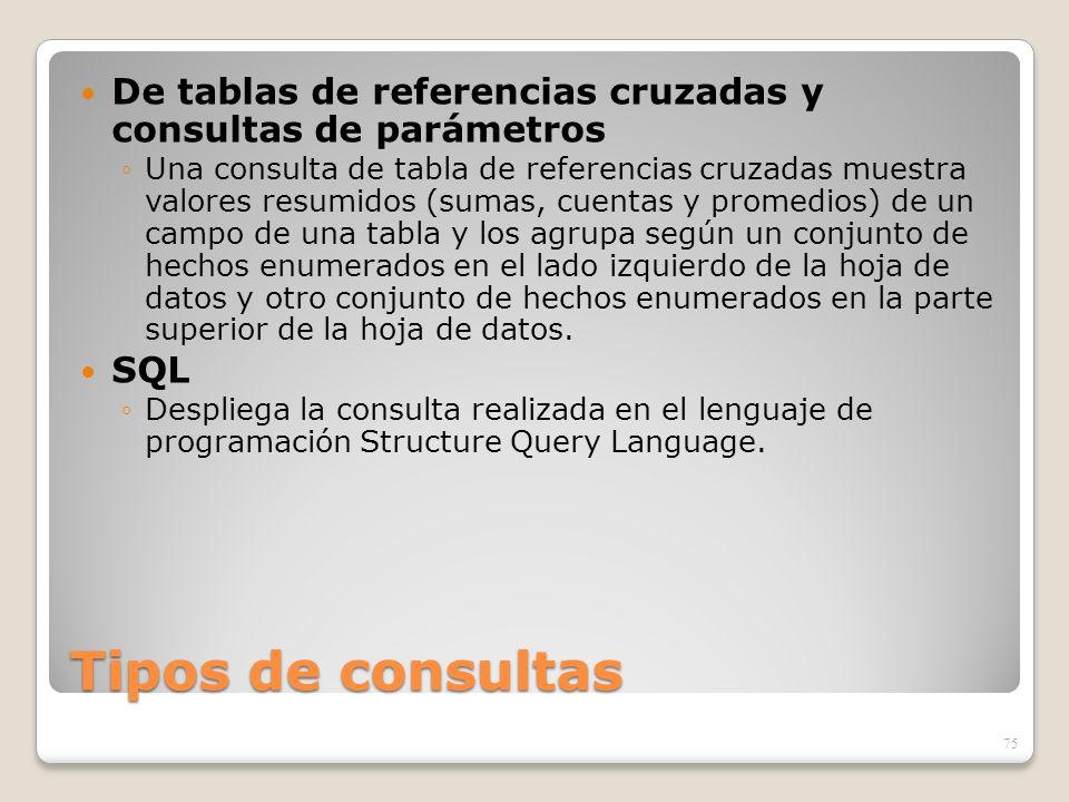 De tablas de referencias cruzadas y consultas de parámetros