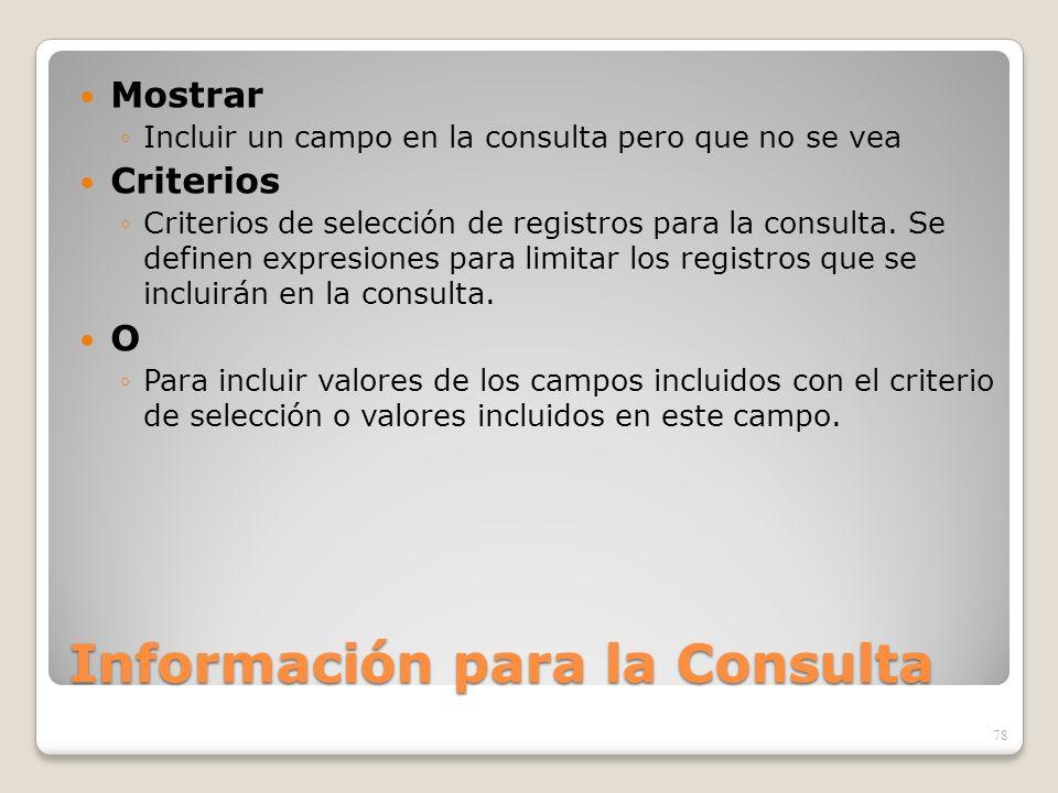Información para la Consulta