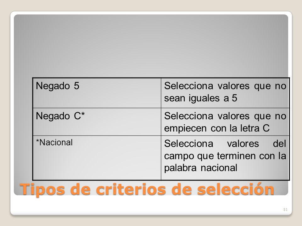 Tipos de criterios de selección