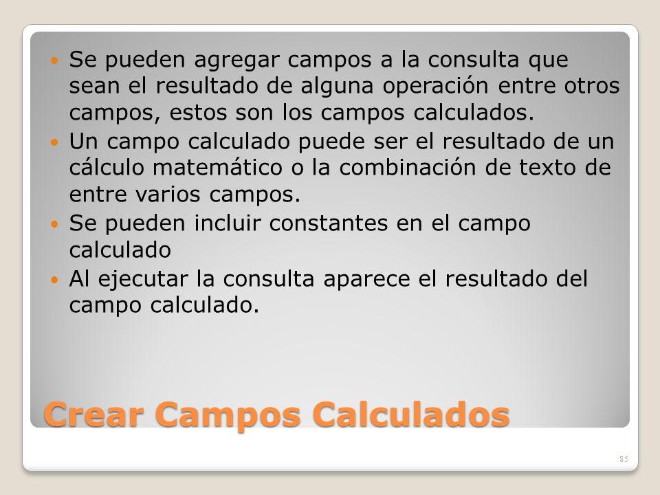 Crear Campos Calculados