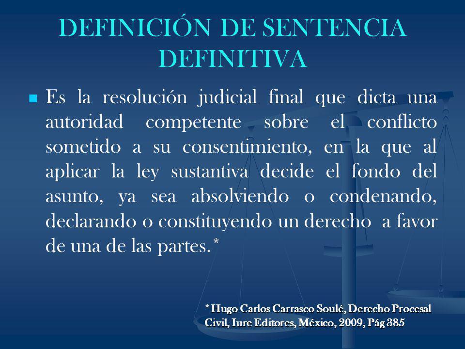DEFINICIÓN DE SENTENCIA DEFINITIVA