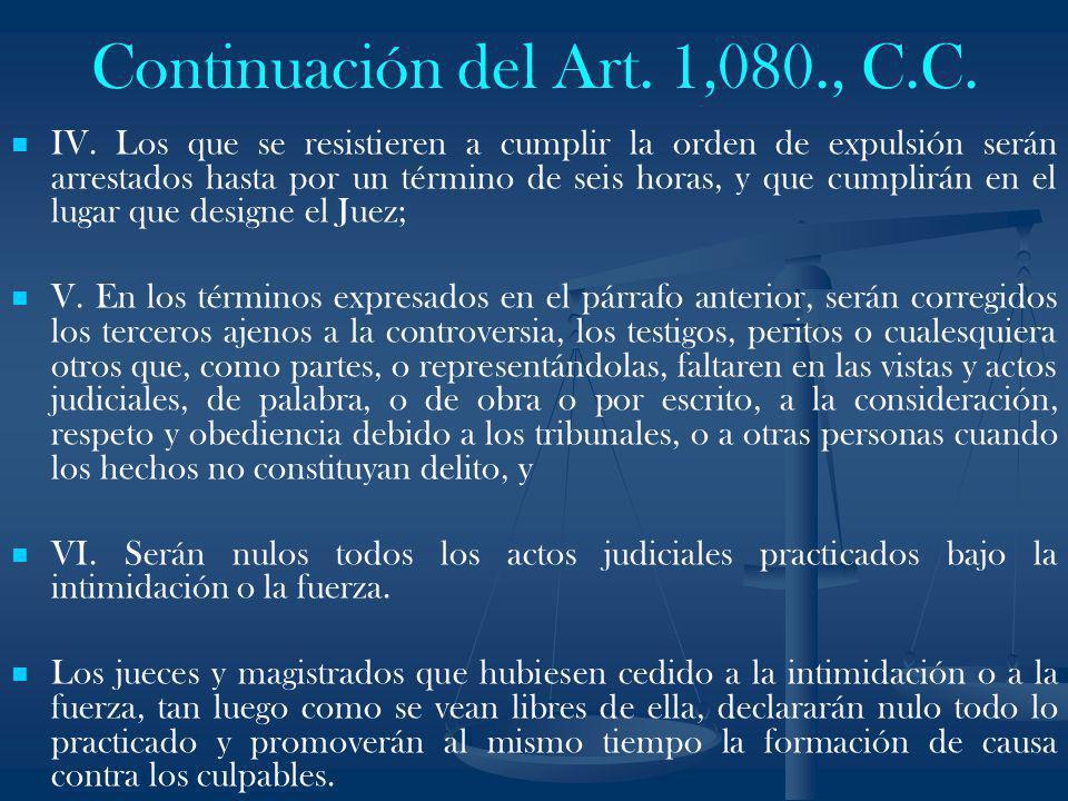 Continuación del Art. 1,080., C.C.