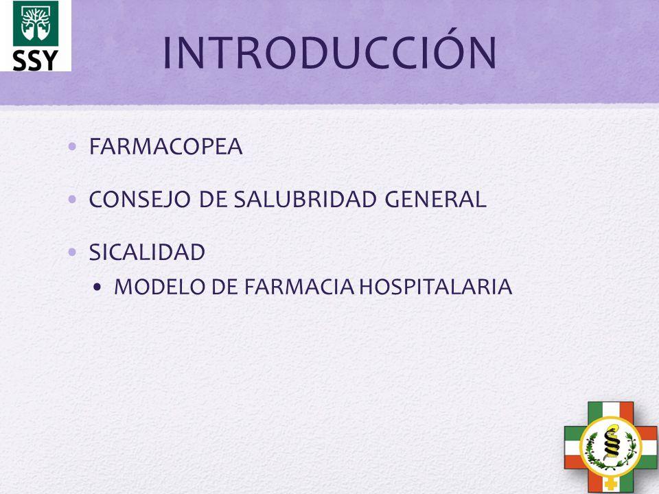 INTRODUCCIÓN FARMACOPEA CONSEJO DE SALUBRIDAD GENERAL SICALIDAD
