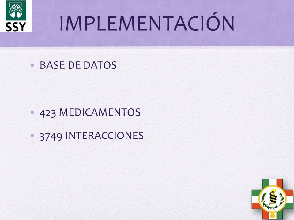 IMPLEMENTACIÓN BASE DE DATOS 423 MEDICAMENTOS 3749 INTERACCIONES