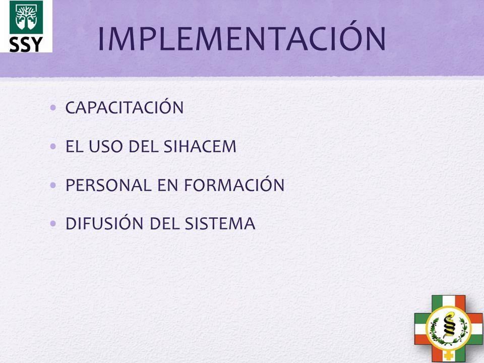 IMPLEMENTACIÓN CAPACITACIÓN EL USO DEL SIHACEM PERSONAL EN FORMACIÓN