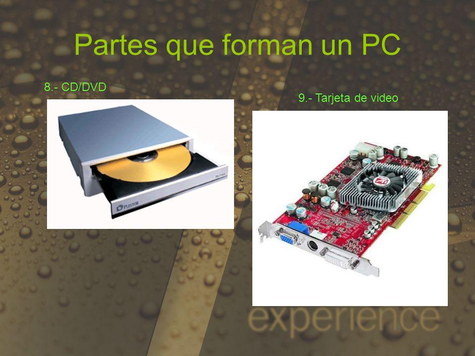 Partes que forman un PC 8.- CD/DVD 9.- Tarjeta de video