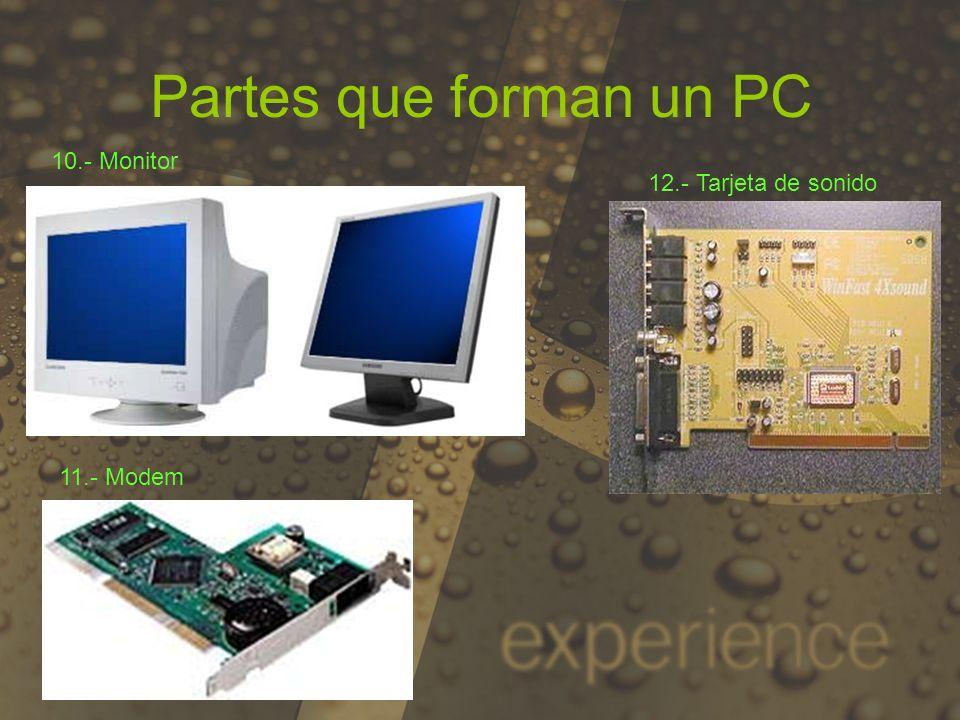 Partes que forman un PC 10.- Monitor 12.- Tarjeta de sonido 11.- Modem