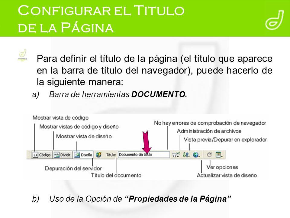 Configurar el Titulo de la Página