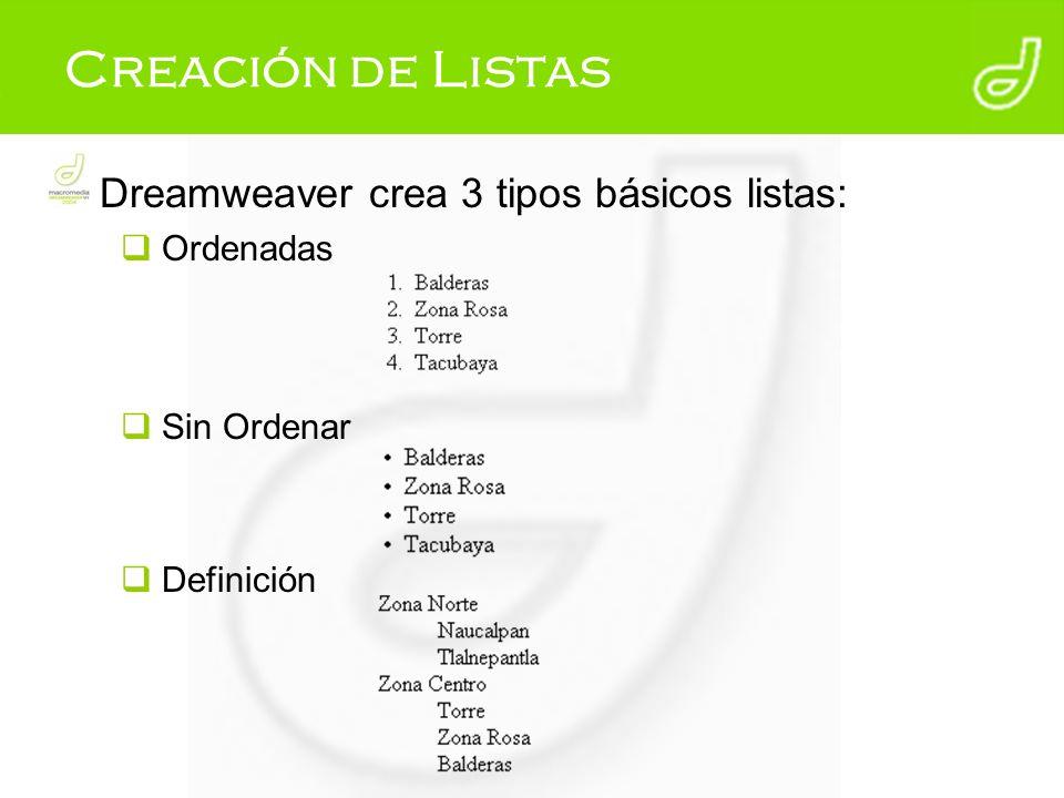 Creación de Listas Dreamweaver crea 3 tipos básicos listas: Ordenadas
