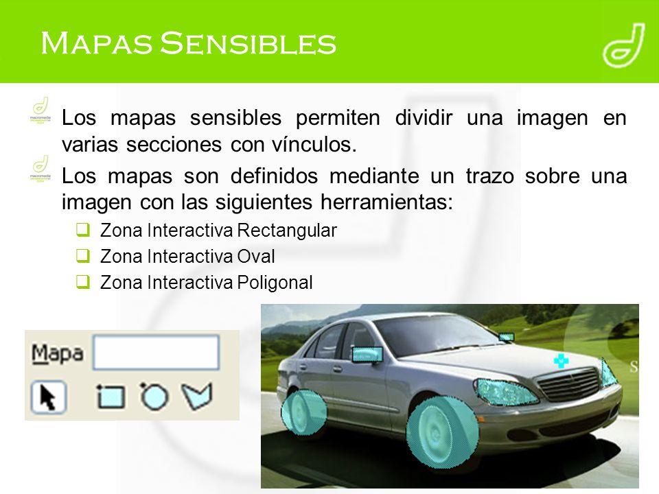 Mapas Sensibles Los mapas sensibles permiten dividir una imagen en varias secciones con vínculos.