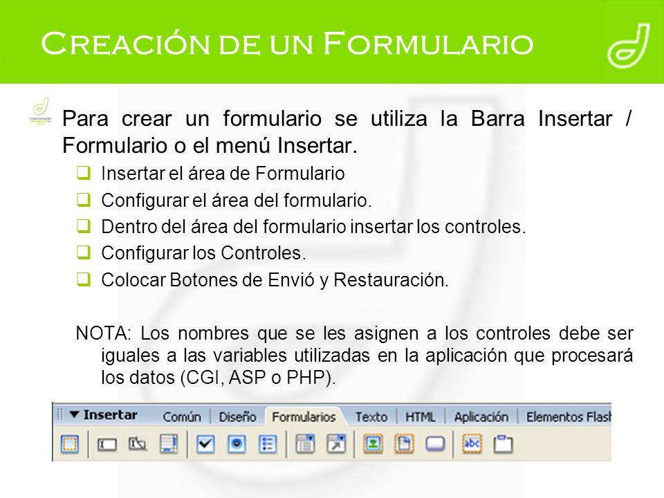 Creación de un Formulario