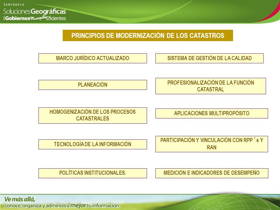 PRINCIPIOS DE MODERNIZACIÓN DE LOS CATASTROS