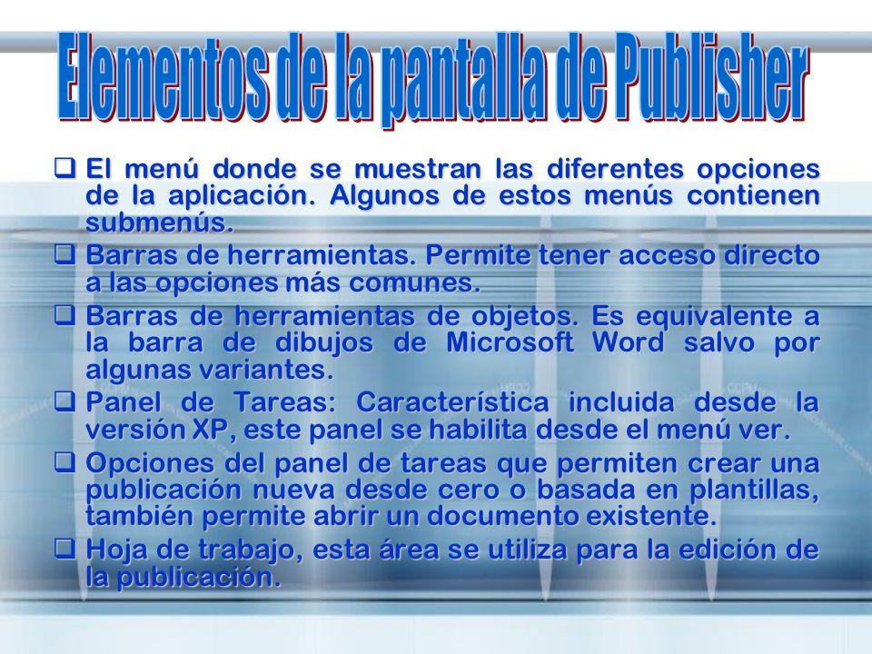 Elementos de la pantalla de Publisher