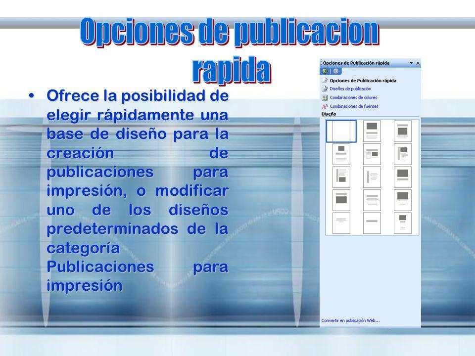 Opciones de publicacion