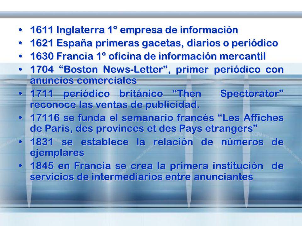 1611 Inglaterra 1º empresa de información