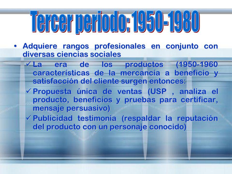 Tercer periodo: 1950-1980 Adquiere rangos profesionales en conjunto con diversas ciencias sociales.