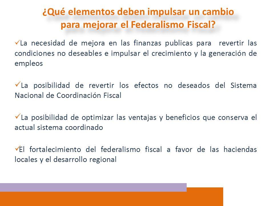 ¿Qué elementos deben impulsar un cambio para mejorar el Federalismo Fiscal