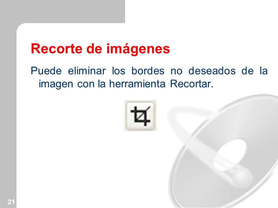 Recorte de imágenes Puede eliminar los bordes no deseados de la imagen con la herramienta Recortar.