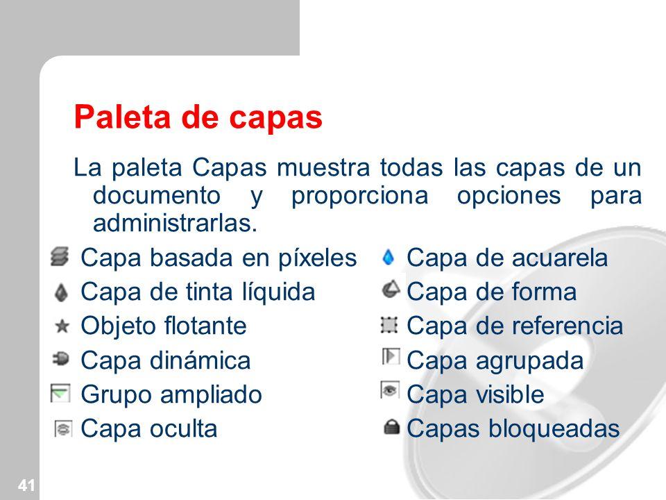 Paleta de capas La paleta Capas muestra todas las capas de un documento y proporciona opciones para administrarlas.