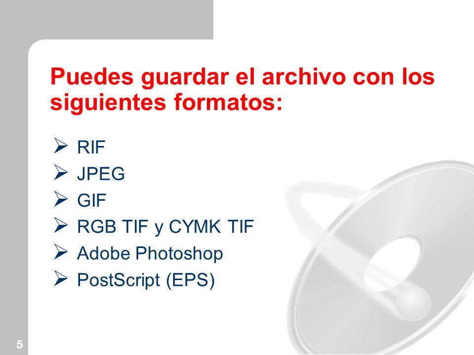 Puedes guardar el archivo con los siguientes formatos: