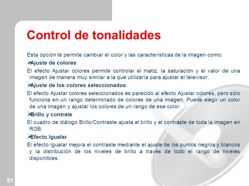 Control de tonalidades