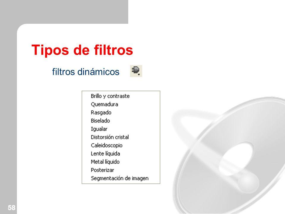 Tipos de filtros filtros dinámicos