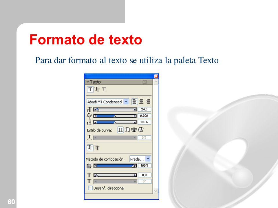 Formato de texto Para dar formato al texto se utiliza la paleta Texto