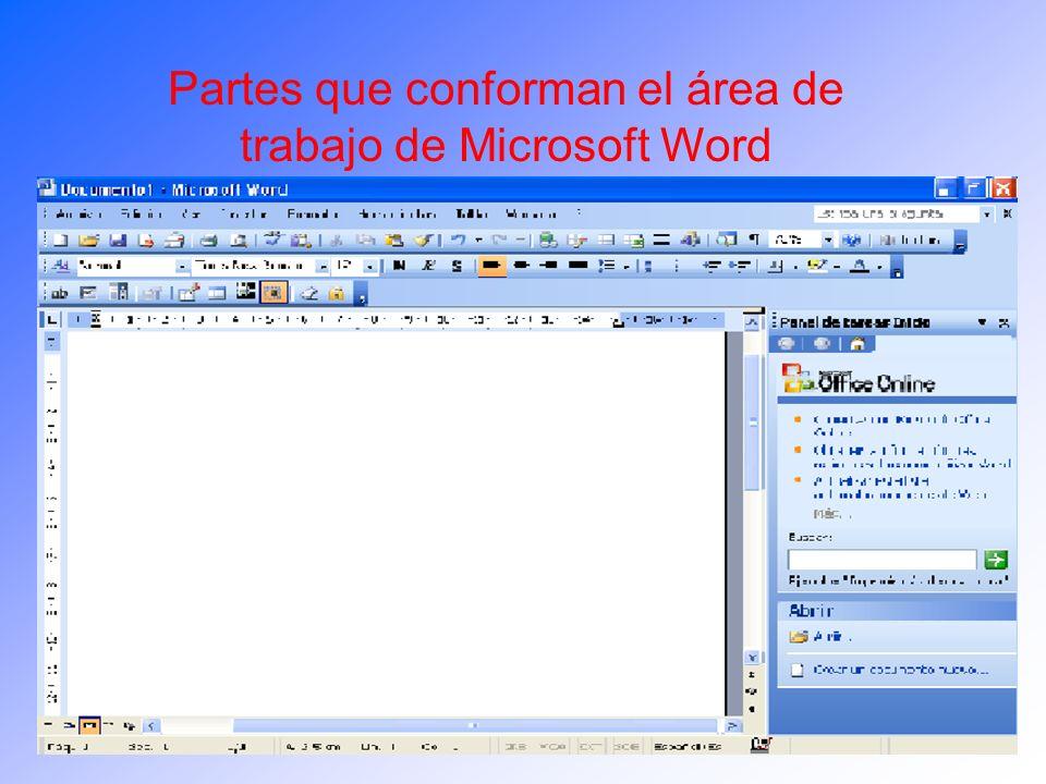 Partes que conforman el área de trabajo de Microsoft Word
