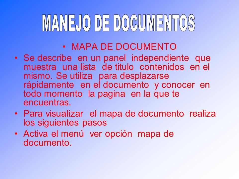 MANEJO DE DOCUMENTOS MAPA DE DOCUMENTO