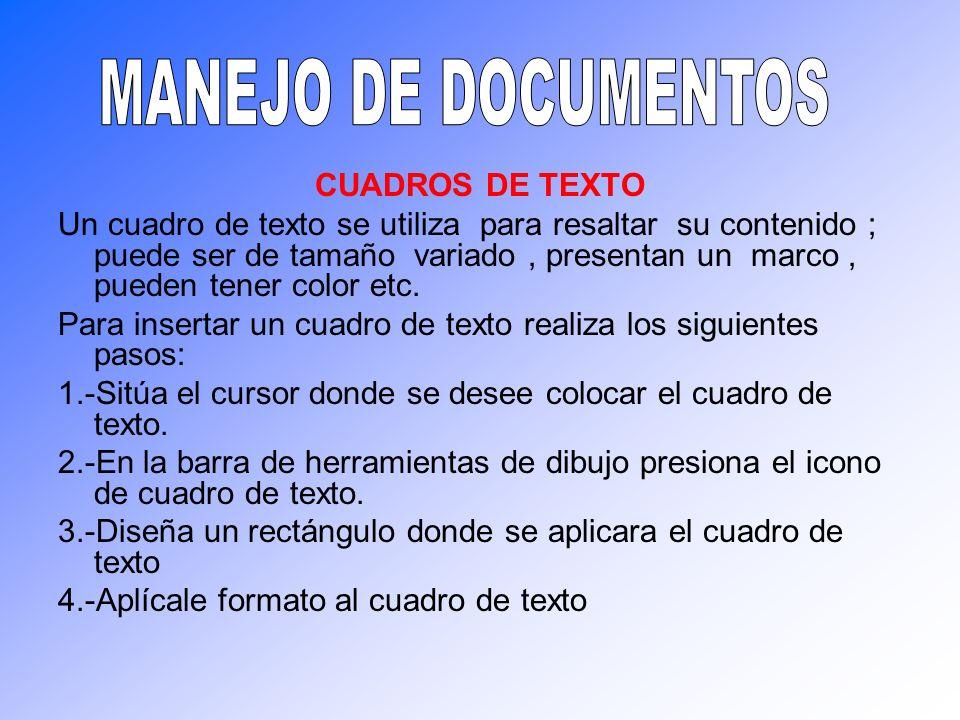MANEJO DE DOCUMENTOS CUADROS DE TEXTO